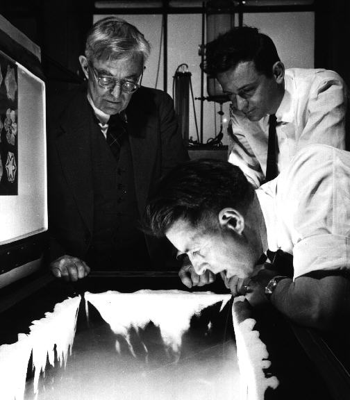 [Photo of Langmuir, Vonnegut, Schaefer.]